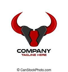 Modern bull head logo. Vector illustration.