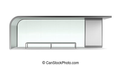 Modern bus stop with blank banner. Front view isolated on...