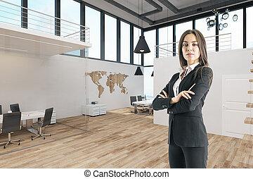 modern, busiesswoman, attraktive, buero