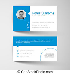 Modern business card template with flat user interface - ...