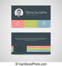 Modern business card template with flat user interface -...