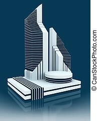 modern business center 3d concept