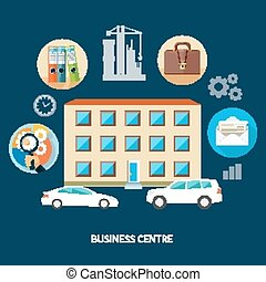 Modern business center concept with item icons in flat...