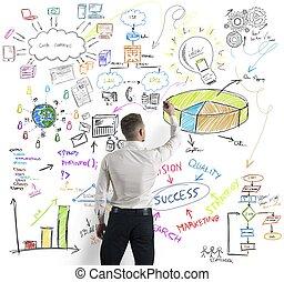 Modern business concept - Businessman drawing modern...