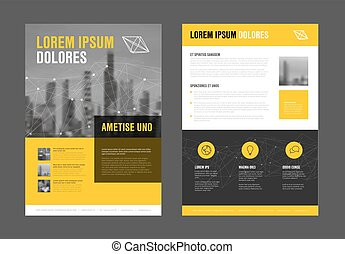 Modern business corporate brochure flyer design vector template with photos and sample content