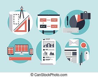 Flat design vector illustration concept icons set of modern business organization management for planning and development innovation of computer technologies. Isolated on stylish color background.
