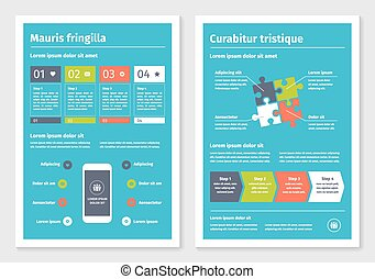 Modern Business Infographic Puzzle Options Vector Clipart - Infographic brochure template
