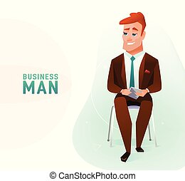 Modern business man in the office sitting on the chair