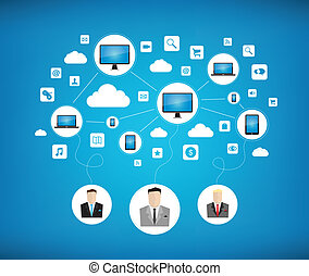 Modern business networking concept - Graphic vector concept...