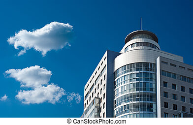 modern business office building on a blue sky background