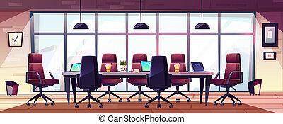 Modern business office meeting room cartoon