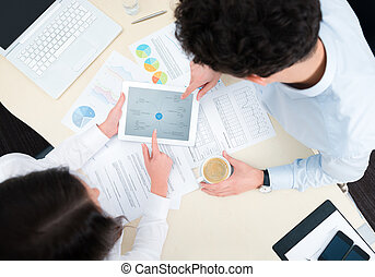 Modern business planning - Business team working on a new ...