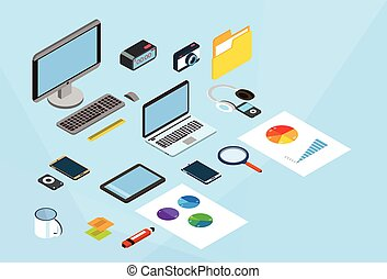 Modern Business Smart Device Set Cell Phone Laptop Computer 3d Isometric Workplace