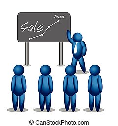 Modern business teachers giving a lecture or presentation. sale strategy. illustration in vector format