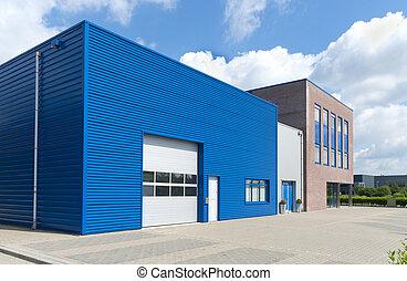 modern business unit - facade of modern blue business unit
