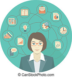 Modern Business Woman Concept - Conceptual illustration of...