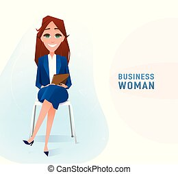 Modern business woman in the office sitting on the chair with copy space