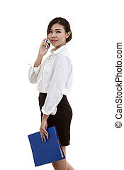 Modern business woman isolate white background