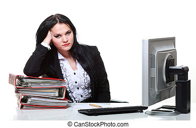 modern business woman sitting at office desk