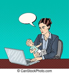 Modern Business Woman Working on Laptop and Holding Baby. Pop Art. Vector illustration