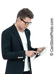modern businessman using a digital tablet.