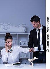 Modern businesswoman and her secretary