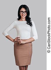 Modern businesswoman. Beautiful young woman in smart casual...