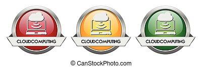 Modern Button Vector Cloudcomputing