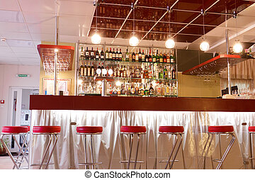 Modern cafe interior, bar