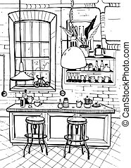 Modern cafe interior in loft style. Hand drawn sketch illustration.