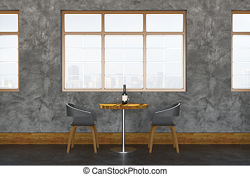 Modern cafe interior side
