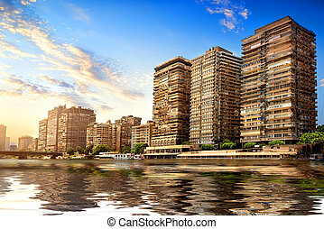 Modern Cairo on Nile - Buildings of Cairo on the bank of...