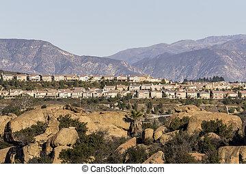 Modern California hillside homes in the Porter Ranch neighborhood of Los Angeles's San Fernando Valley.