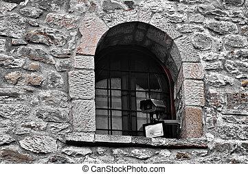 Modern Camera on old building