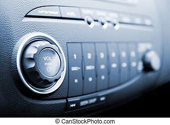 Modern car audio system (shallow DoF)