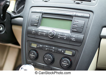 Modern car dashboard, radio system and climate control panel
