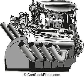 Modern car engine. vector illustration isolated on white background.
