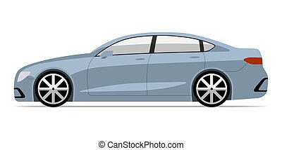 Modern car in flat style. Side view of business sedan isolated on white background