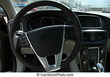 Modern car interior - Dashboard and interior of a brand new ...