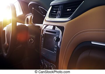 Modern Car Interior. Elegant Car Interior Design with Large...