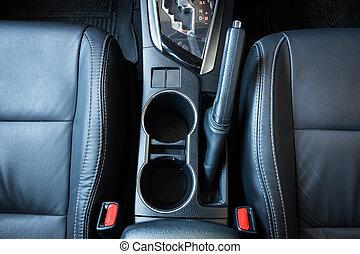 Modern Car Interior Top View. Black Leather New Car Interior.