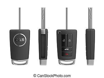 Modern car key isolated on white background