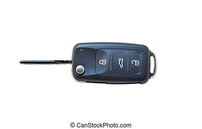 Modern Car Key isolated on White - Modern Car Key isolated...