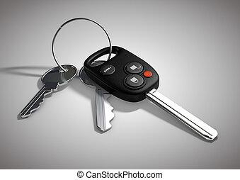 Modern Car keys for passenger vehicle isolated on flat white surface.