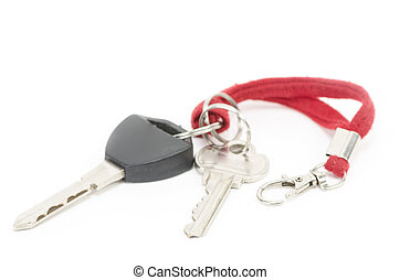 Modern car keys isolated on white background