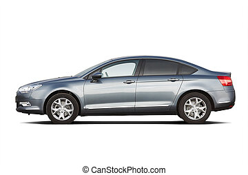 Modern sedan isolated on white