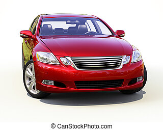 Modern car on a light background with a shadow