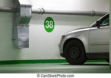 modern car parked in an undeground parking