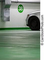 modern car parked in an underground parking