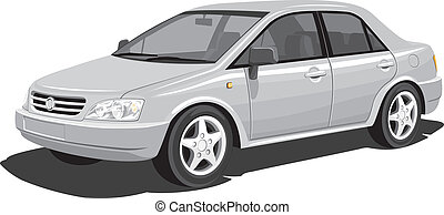 Vector isolated modern car on white background, without gradients
